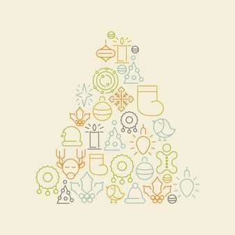 Kritzeln sie bunte weihnachtsikonen, die in form des tannenbaums auf weißer illustration eingestellt werden