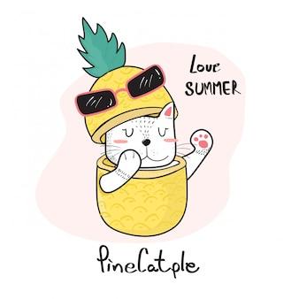 Kritzeln sie die hand, die die nette katze zeichnet, die durch eine ananas späht
