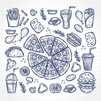Kritzeln sie fast-food-diahes auf einer notizbuchseite. hand gezeichneter stil