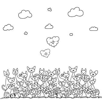 Kritzeln sie katzenstapel mit wolkenherzen und -himmel