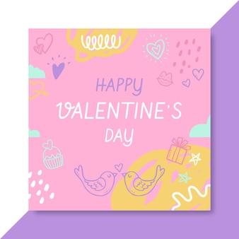 Kritzeln sie kindlichen valentinstag instagram post