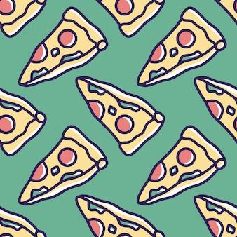 Kritzeln sie muster der fast-food-pizza-handzeichnung