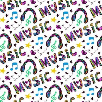 Kritzeln sie nahtloses muster der musik mit kopfhörern und beschriftung. vektorillustration in der spaßhippiefarbe