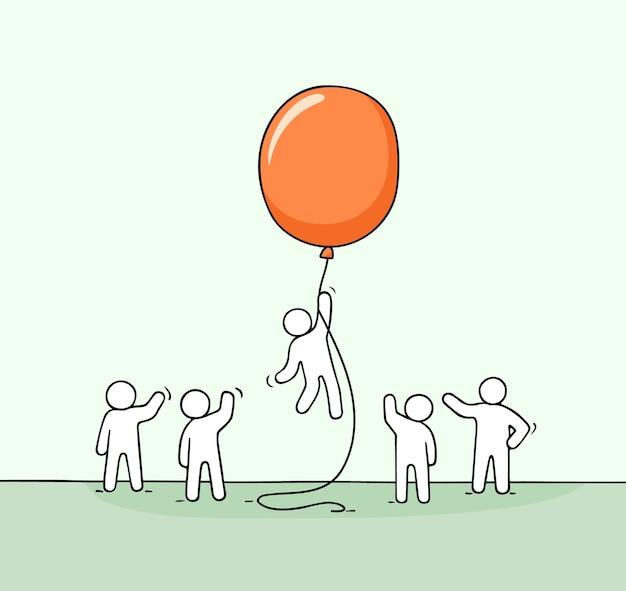 Kritzeln sie niedliche miniaturszene der arbeiter mit ballon.