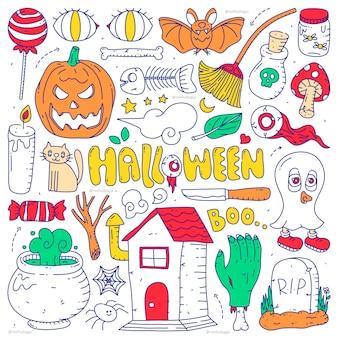 Kritzeln sie sammlungssatz von halloween-element auf lokalisiertem weißem hintergrund. fröhliches halloween