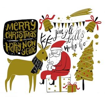 Kritzeln sie weihnachtsjahreszeitikonen und grafische elemente der weinlese. tafeleffekt.