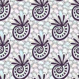 Kritzelndes nahtloses muster mit muscheln. zentangle färbung seite. kreativer hintergrund für textil- oder malbuch in den pastellfarben.