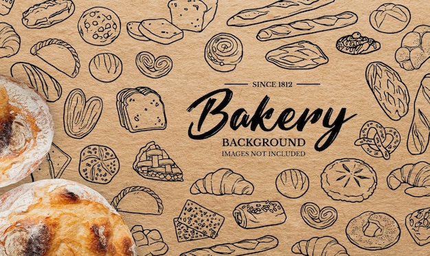 Kritzelt hintergrund für bäckerei
