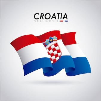 Kroatien-design über grauer hintergrundvektorillustration