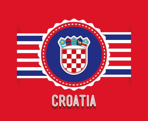 Kroatien-design über roter hintergrundvektorillustration