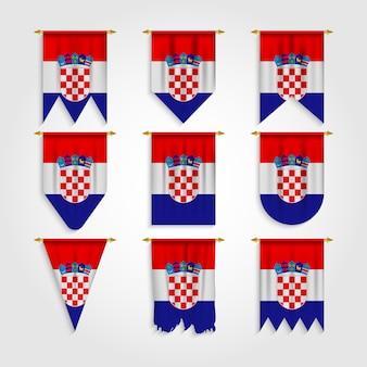 Kroatien flagge in verschiedenen formen