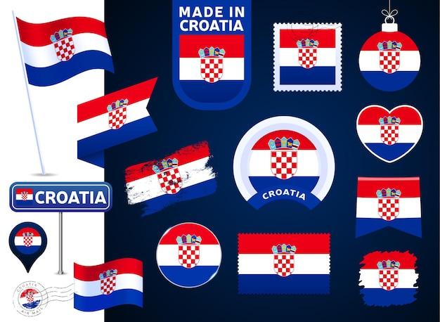 Kroatien flaggenvektorsammlung. große auswahl an designelementen der nationalflagge in verschiedenen formen für öffentliche und nationale feiertage im flachen stil. poststempel, gemacht in, liebe, kreis, straßenschild, welle