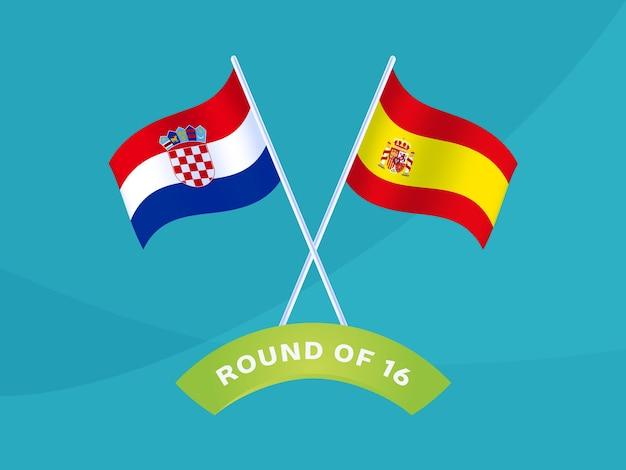 Kroatien gegen spanien runde 16 spiel, vektorillustration der fußball-europameisterschaft 2020. fußball-meisterschaftsspiel 2020 gegen mannschafts-intro-sport-hintergrund