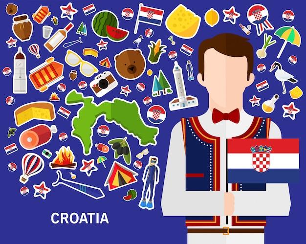 Kroatien-konzepthintergrund flache ikonen