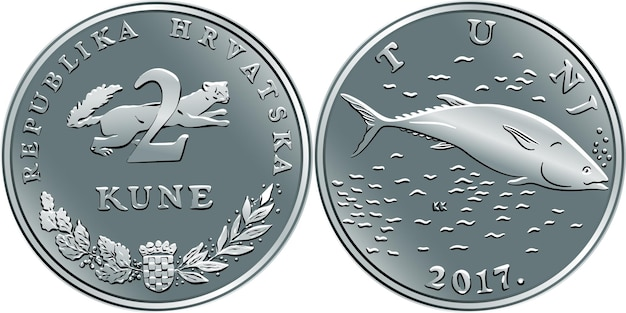 Kroatische 2-kuna-münze, thunfisch auf der rückseite, marder auf der vorderseite, offizielle münze in kroatien