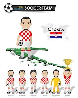Kroatische fußballnationalmannschaft. fußballspieler mit sporttrikot stehen auf der landkarte des perspektivfeldes und der weltkarte. set von fußballspielerpositionen. flaches design der zeichentrickfigur. vektor.