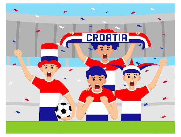 Kroatische unterstützer im flachen design
