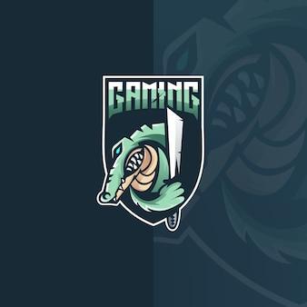 Krokodil e sport maskottchen logo design