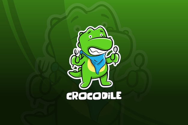Krokodil esport maskottchen design. frühstückszeit