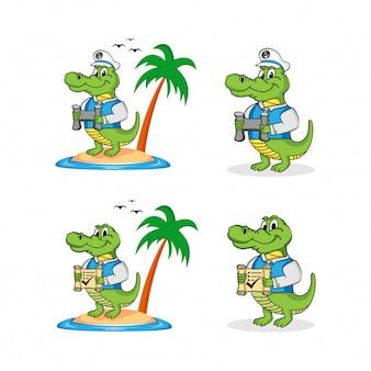 Krokodil maskottchen / charakter sammlung