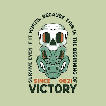 Krokodil mit schädel-illustration retro-stil für t-shirt-design
