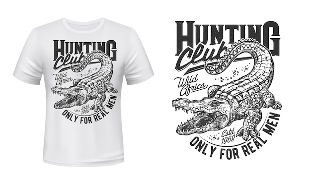 Krokodil oder alligator t-shirt drucken wütendes reptil