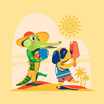 Krokodil und hund gehen an den strand, um den sommer mit volleyball zu genießen und eis zu essen