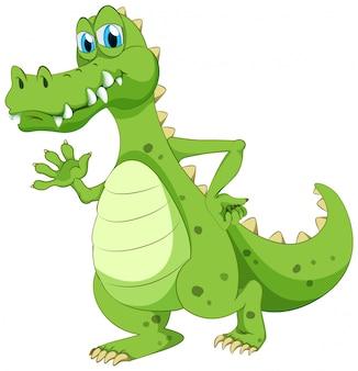 Krokodil winkt hand