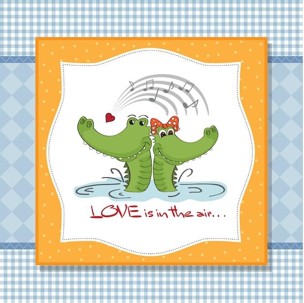 Krokodile in der liebe. valentinstag-tageskarte
