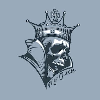 Krone am schädel mit der aufschrift my queen