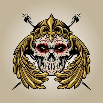 Krone mexikanischen zuckerschädel muertos mit flügeln logo-illustrationen