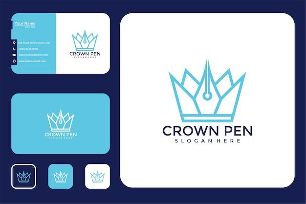 Krone mit bleistift-logo-design und visitenkarte