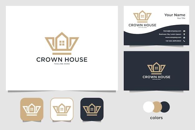 Krone mit home-logo-design und visitenkarte