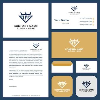 Krone mit logo und visitenkarte