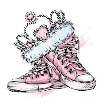 Krone oder tiara auf turnschuhen. illustration.