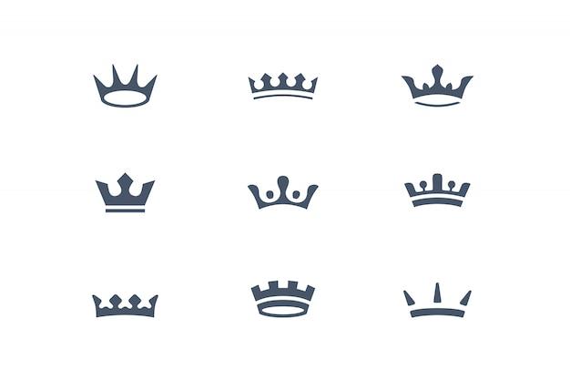Krone. sammlung von königlichen kronen, ikonen und gestaltungselementen, grafikdesign.