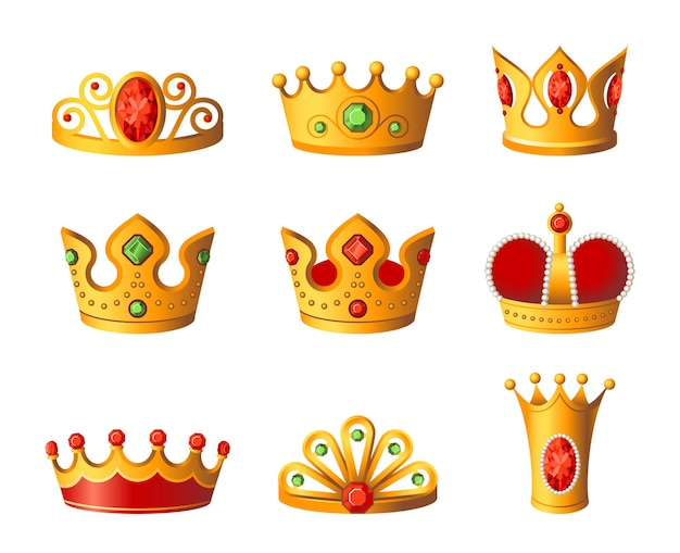 Kronen - realistischer moderner vektorsatz verschiedener königlicher kopfbedeckungen. weißer hintergrund. hochwertige clipart für präsentationen, banner und flyer. könig- und königingoldpreise mit diamanten.