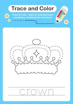 Kronen- und farbvorschularbeitsblatt für kinder zum üben der feinmotorik