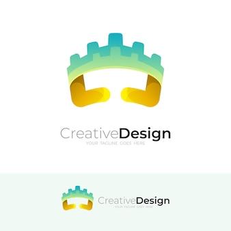 Kronenlogo und schlosslogokombination, bunte ikone