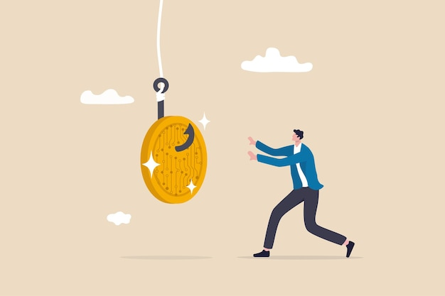 Krypto-betrug oder betrug, lügner erstellen ico-initial-coin-angebot für gierige investoren oder händlerkonzepte, gierige geschäftsmann, der rennt, um betrügerischen kryptowährungs-münzen-betrug zu ergreifen