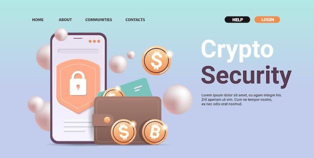 Krypto-geldbörse mit goldenen münzen auf dem smartphone-bildschirm kryptowährungs-blockchain-technologie digitales währungskonzept horizontale kopienraum-vektorillustration