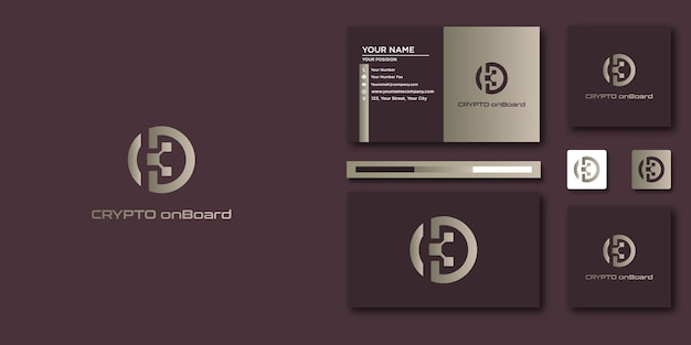 Krypto-logo-briefschablone mit modernem konzept und visitenkartendesign