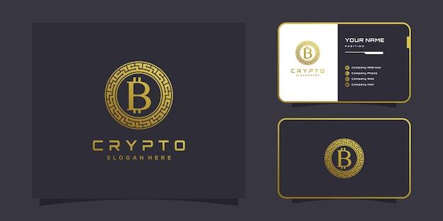 Krypto-logo mit modernem kreativem konzept premium-vektor
