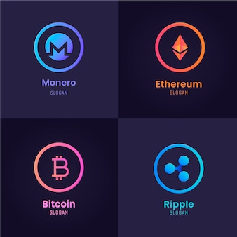 Krypto-logo-sammlung mit flachem design