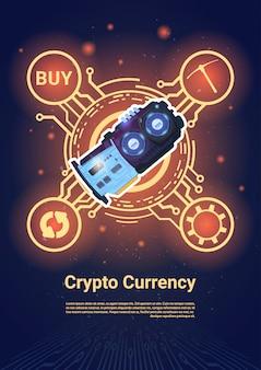 Krypto-währung-bitcoin-mikrochip-fahne mit kopien-raum-digital-netz-geld-konzept