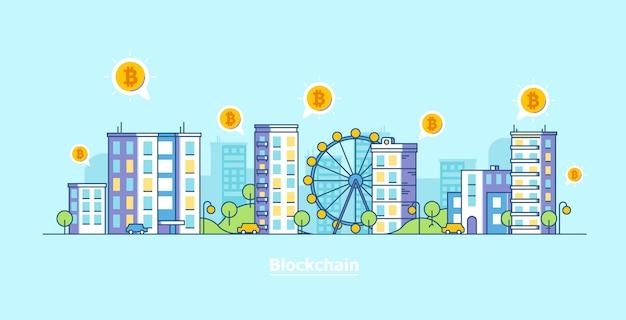 Krypto-währung stadt. flache vektorillustration der bitcoin- und blockchain-technologie.