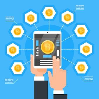 Krypto-währungs-technologie-bitcoin-austausch-konzept-hand, die digitale tablette hält, kaufen modernes netz-geld