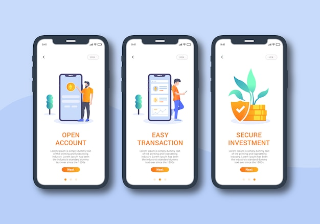 Kryptowährung app-set von onboarding-bildschirm mobile benutzeroberfläche
