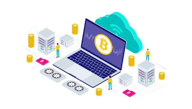 Kryptowährung, bitcoin, blockchain, bergbau, technologie, internet iot isometrische 3d-flache illustration.