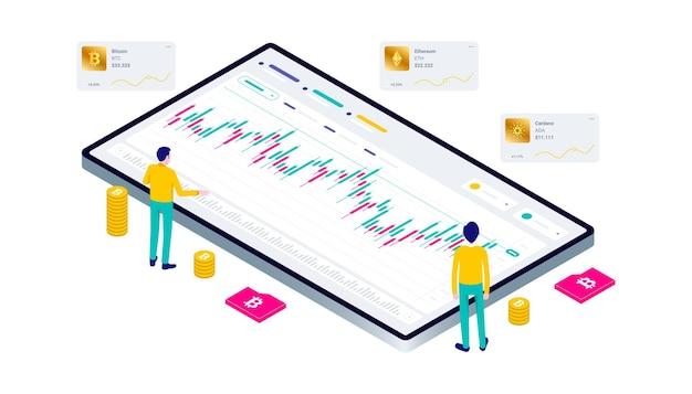 Kryptowährung bitcoin blockchain mining-technologie internet iot-sicherheitswebsite dashboard isometrische 3d-flache illustration